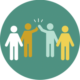 Illustration of 4 people working together with a high-five.