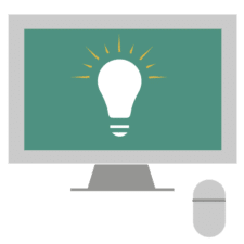Ilustration of computer with a lightbulb image.
