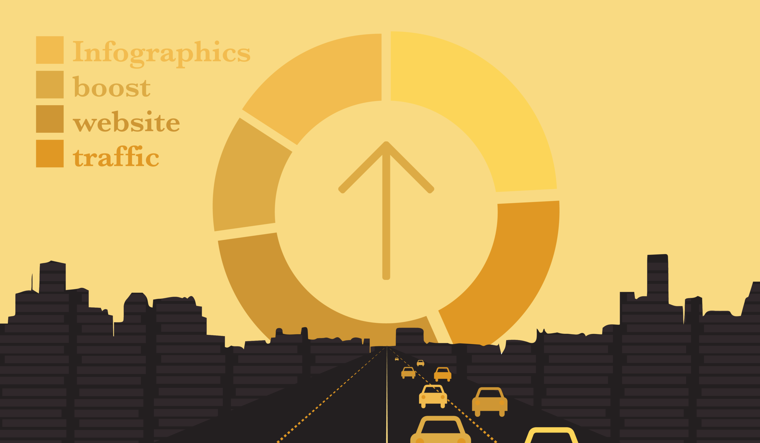 Illustration depicting how infographics can boost website traffic.