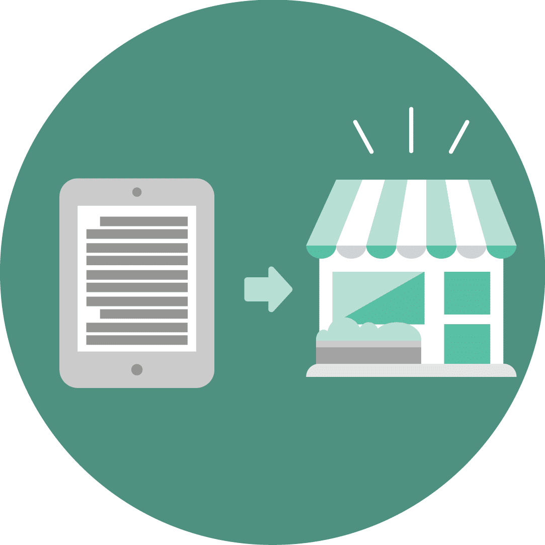 Icon featuring a tablet and a storefront.