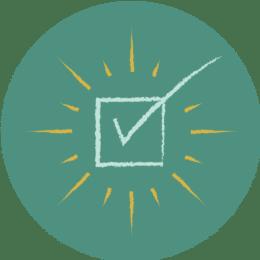 Hand-drawn checkmark icon.