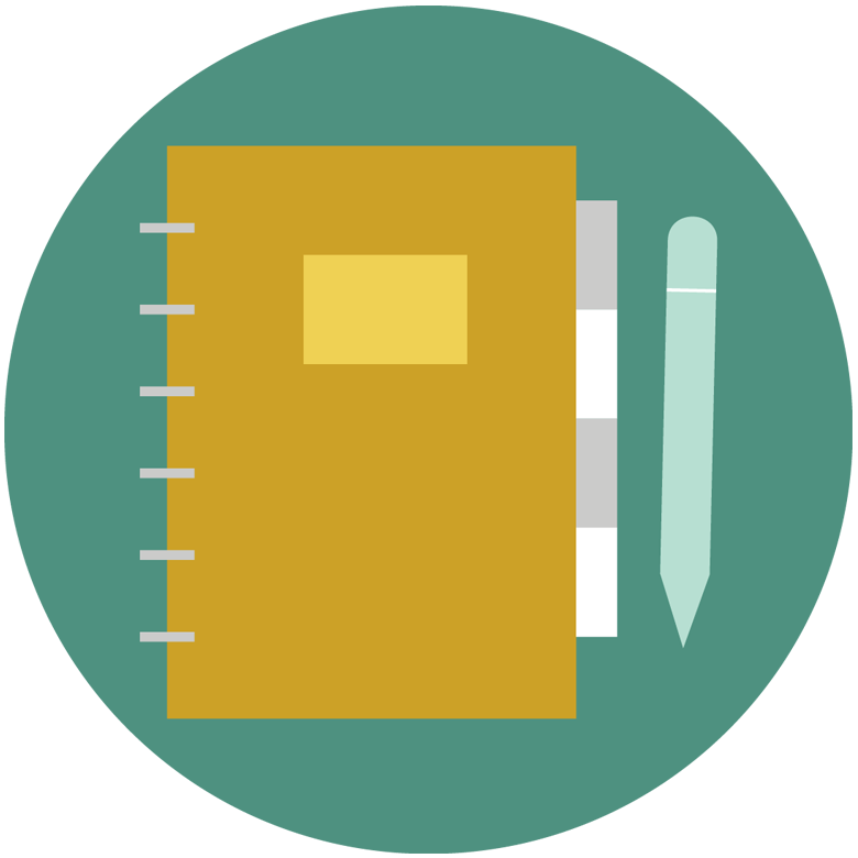 Illustration of a pen and notebook.