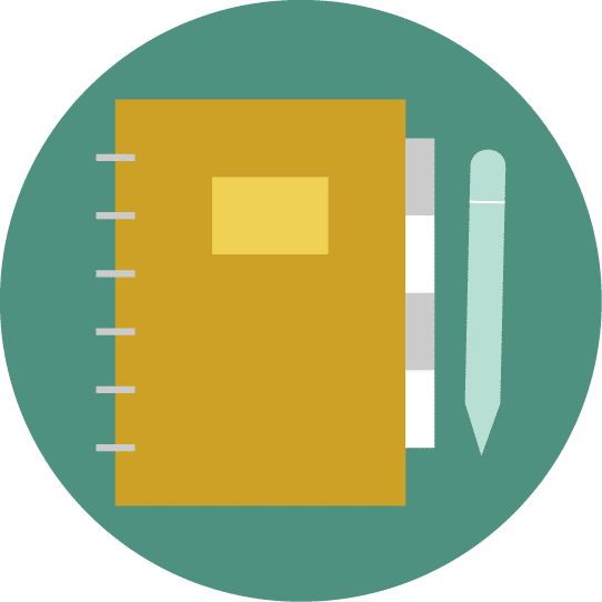 Illustration of a planner with a pen.
