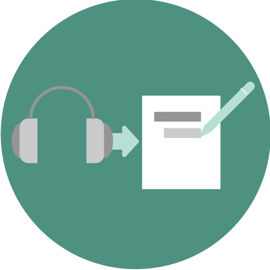 Illustration showing how audio input is transcribed, from headphones to pen and paper.