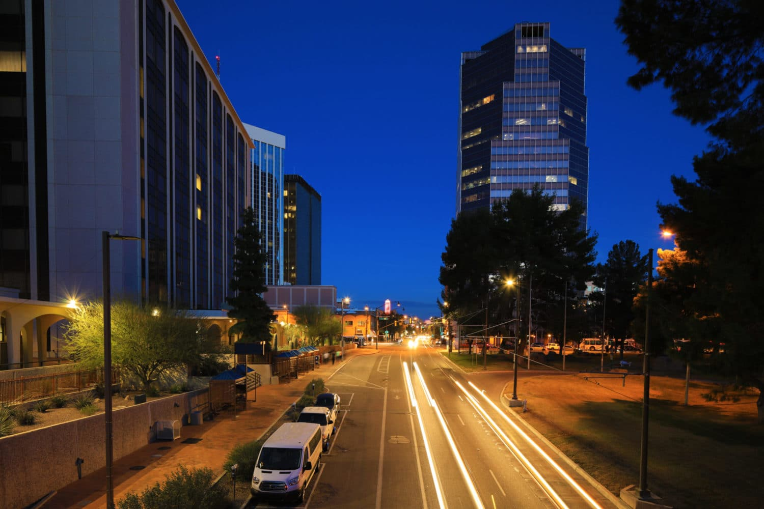 Photo of downtown Tucson at night.