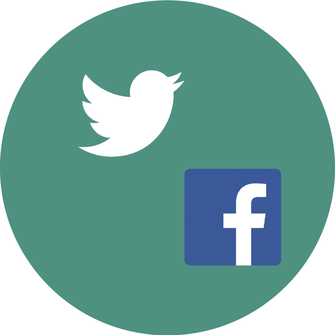 Icon with the Facebook and Twitter logos.