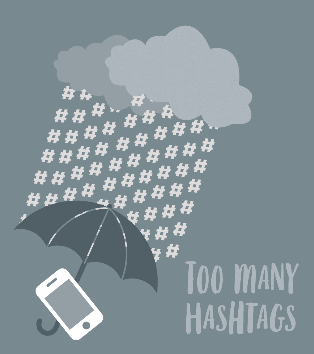 Illustration demonstrating the problems of using too many hashtags.