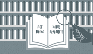 Illustration depicting the idea of not doing proper research for social meia posts.