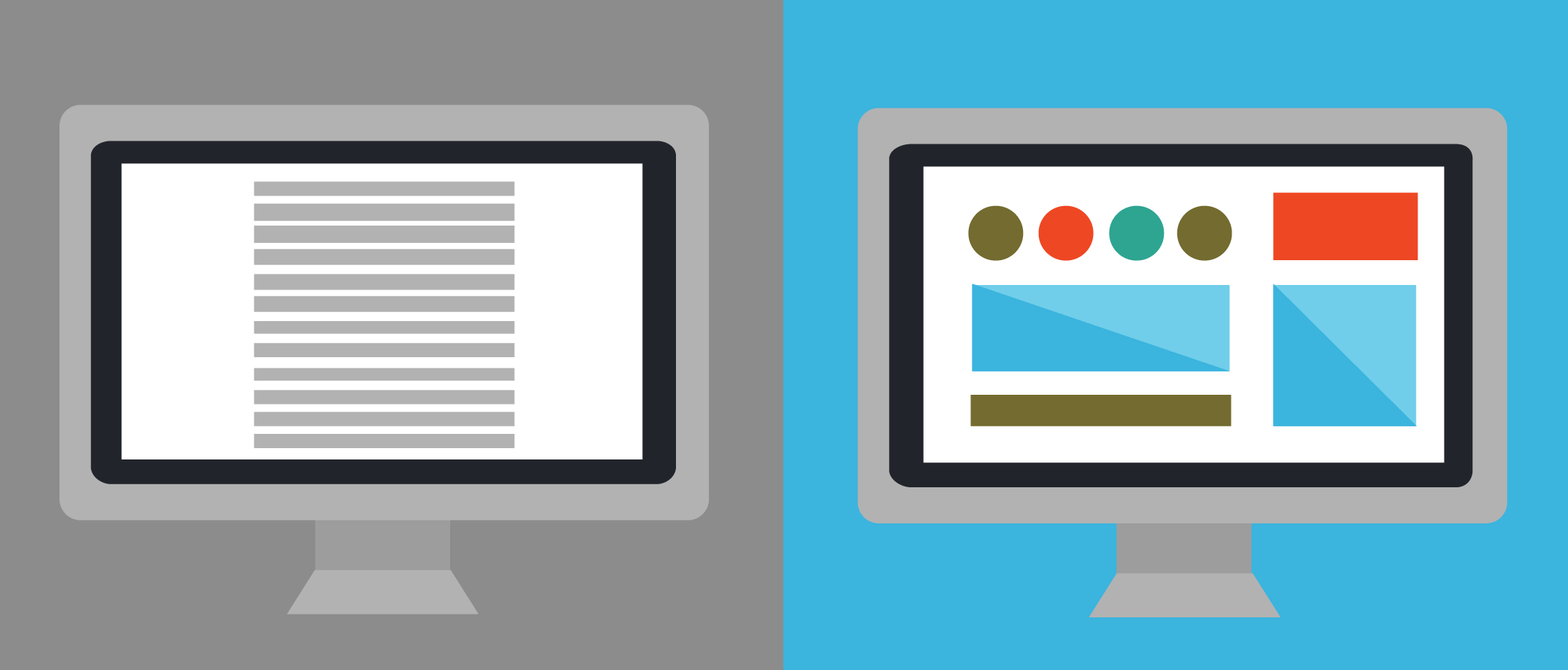 Illustration of 2 computer screens: 1 with text, and 1 with images.