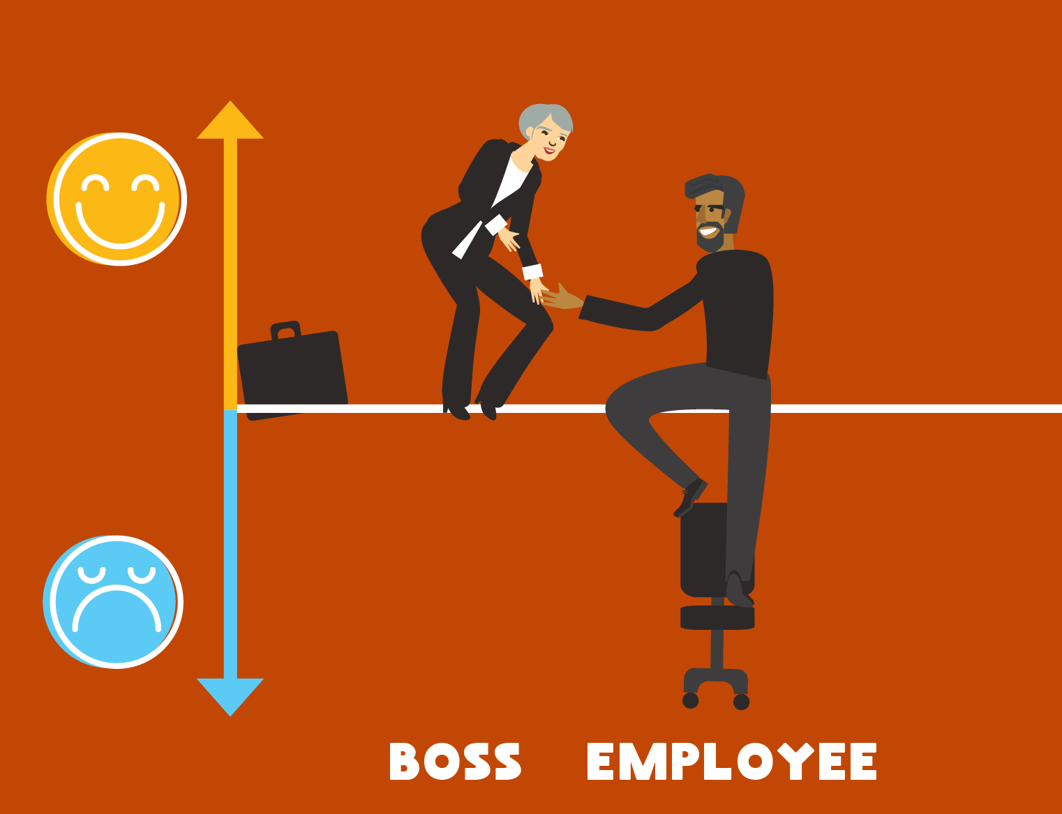 Illustration of a boss working to improve employee happiness.