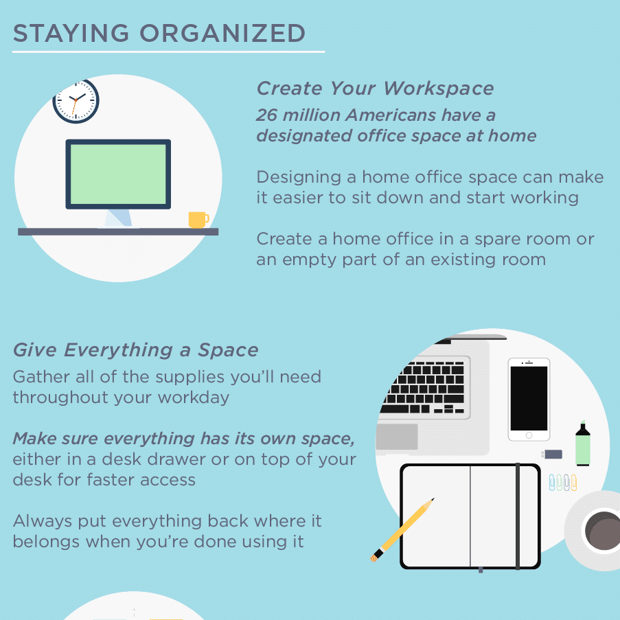 Thumbnail of infographic with tips for working from home.