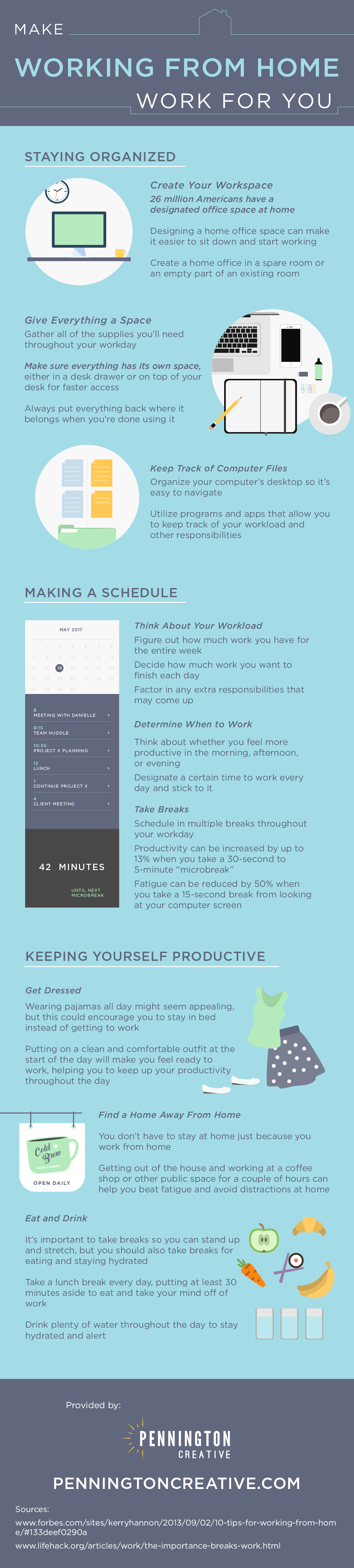Infographic with tips for people who work from home.