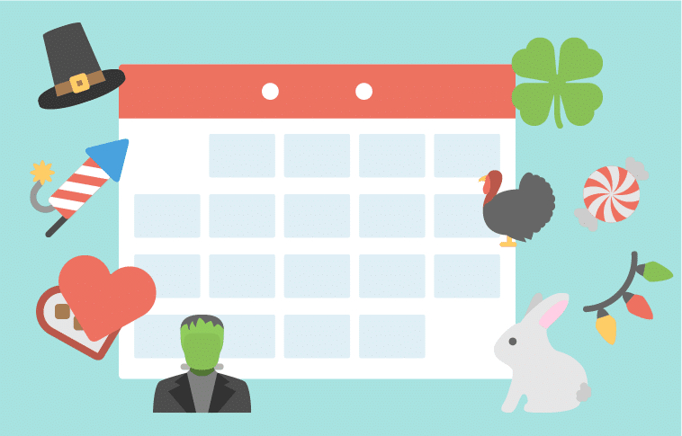 Illustration of calendar with holiday icons.