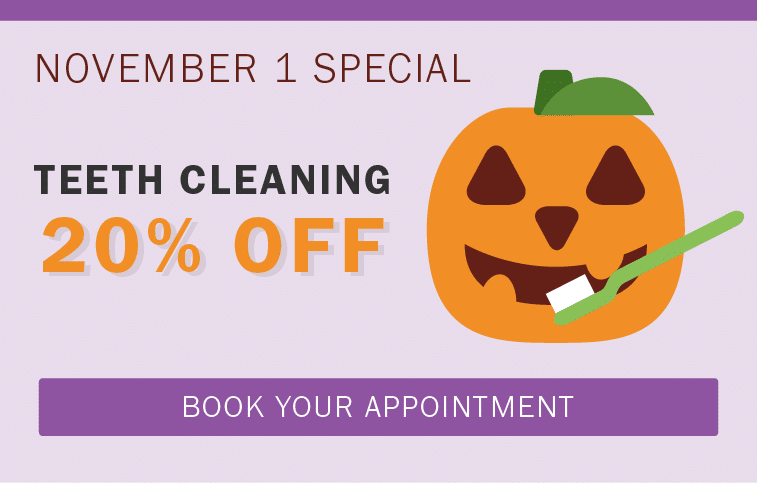 Illustration of dental coupon for Halloween.