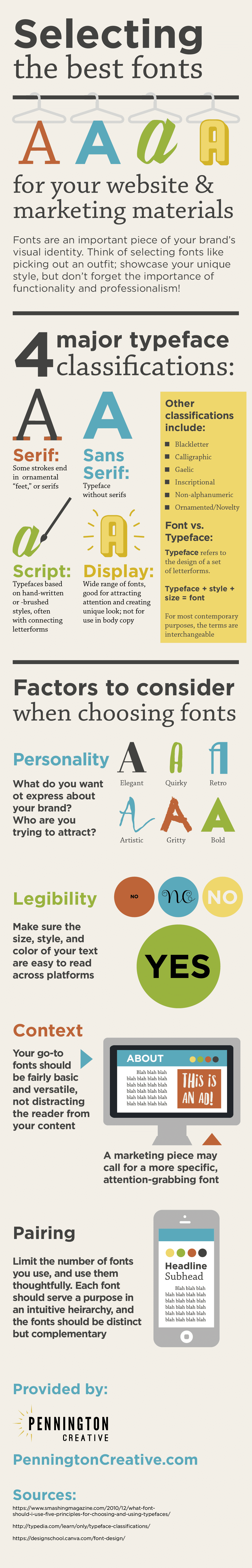 Infographic about selecting fonts for your business materials.