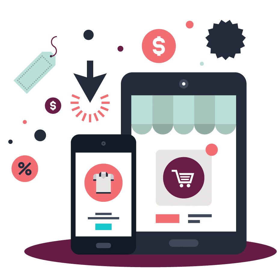 Illustration with eCommerce elements surrounding a smartphone and tablet.