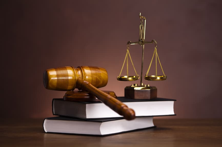 Stock photo showing items associated with the legal industry.