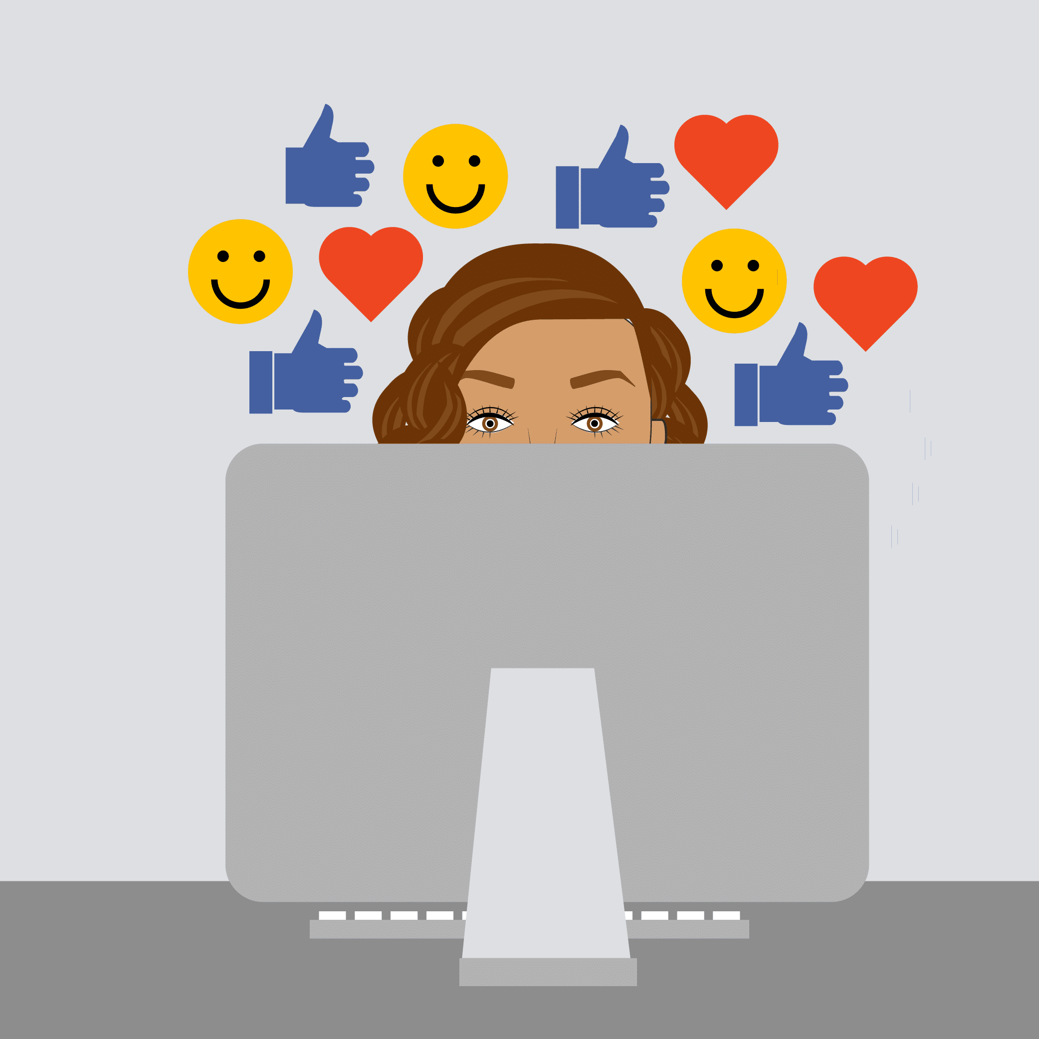 Illustration of woman at a computer surrounded by happy emojis.