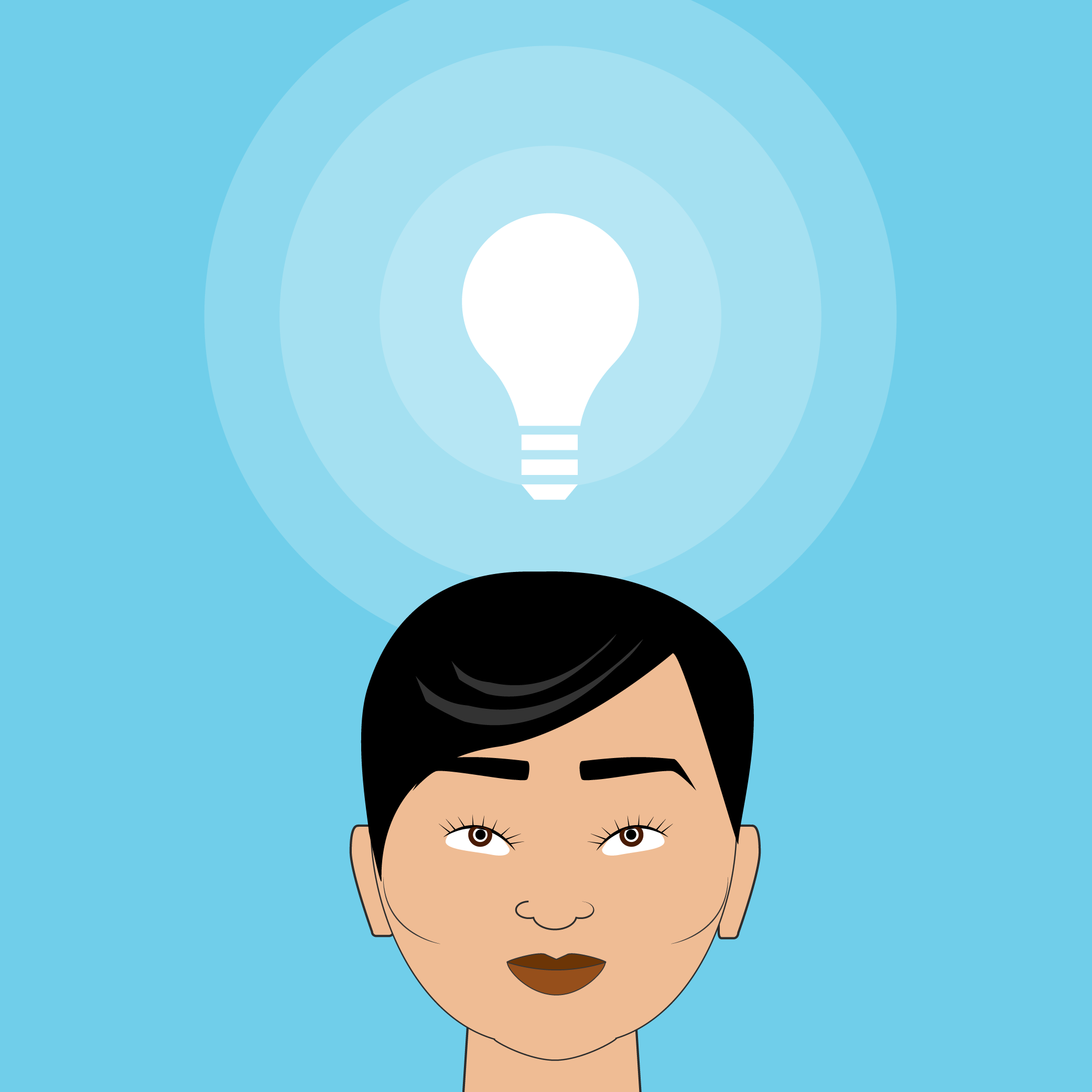 Illustration of a woman with an idea, shown as a lightbulb above her head.