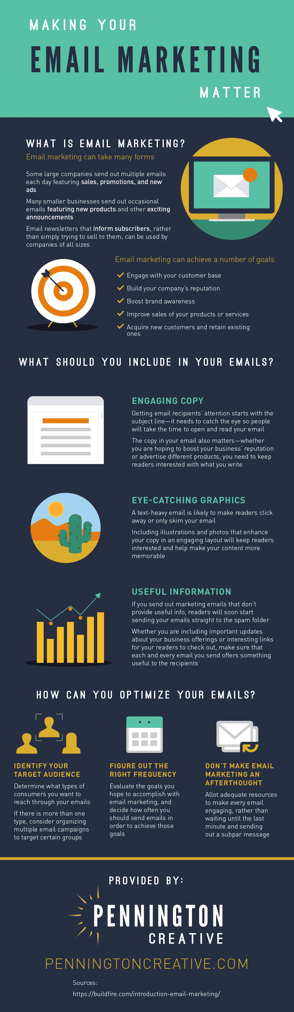 Infographic with tips for email marketing.