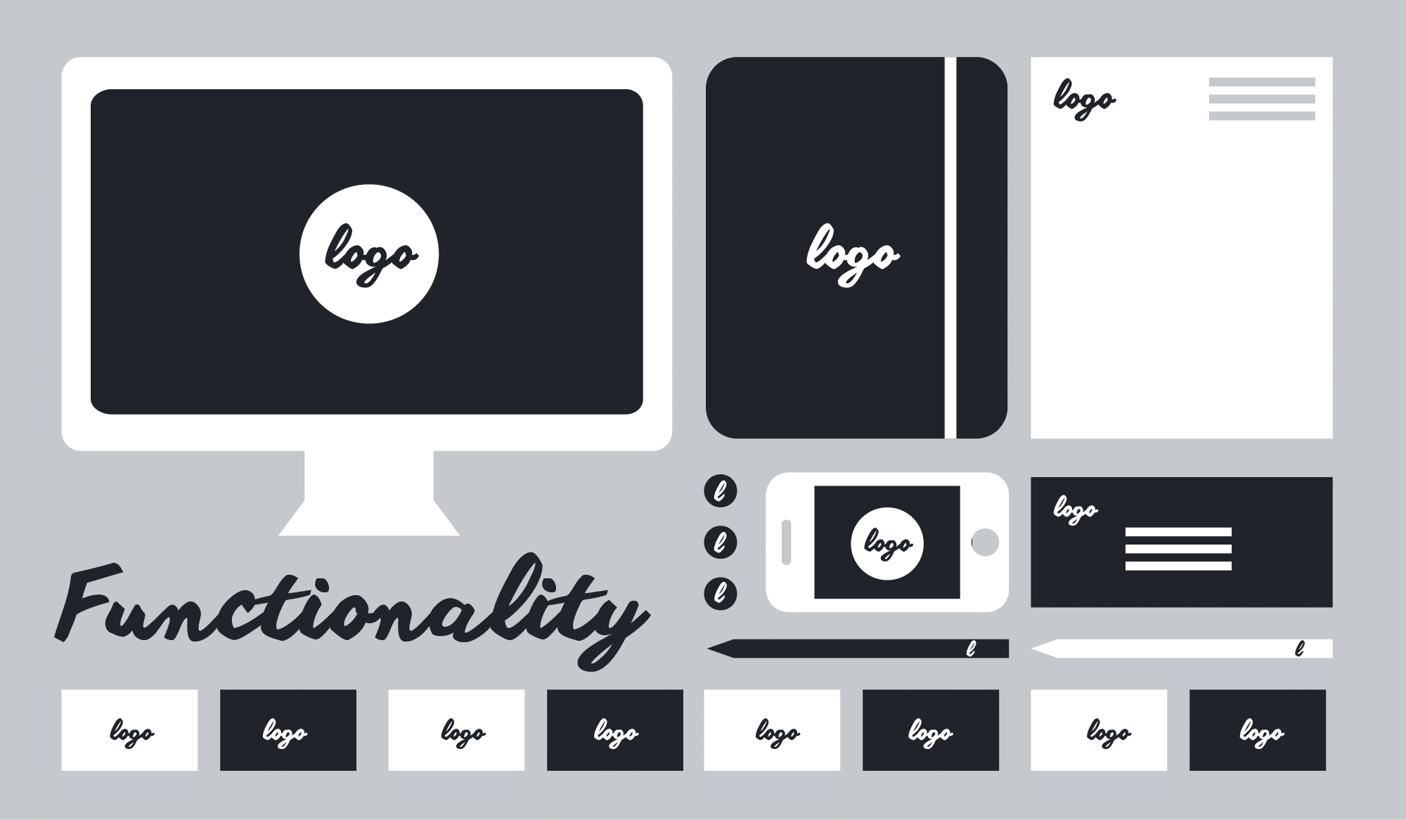Illustration about the importance of functionality for logos.