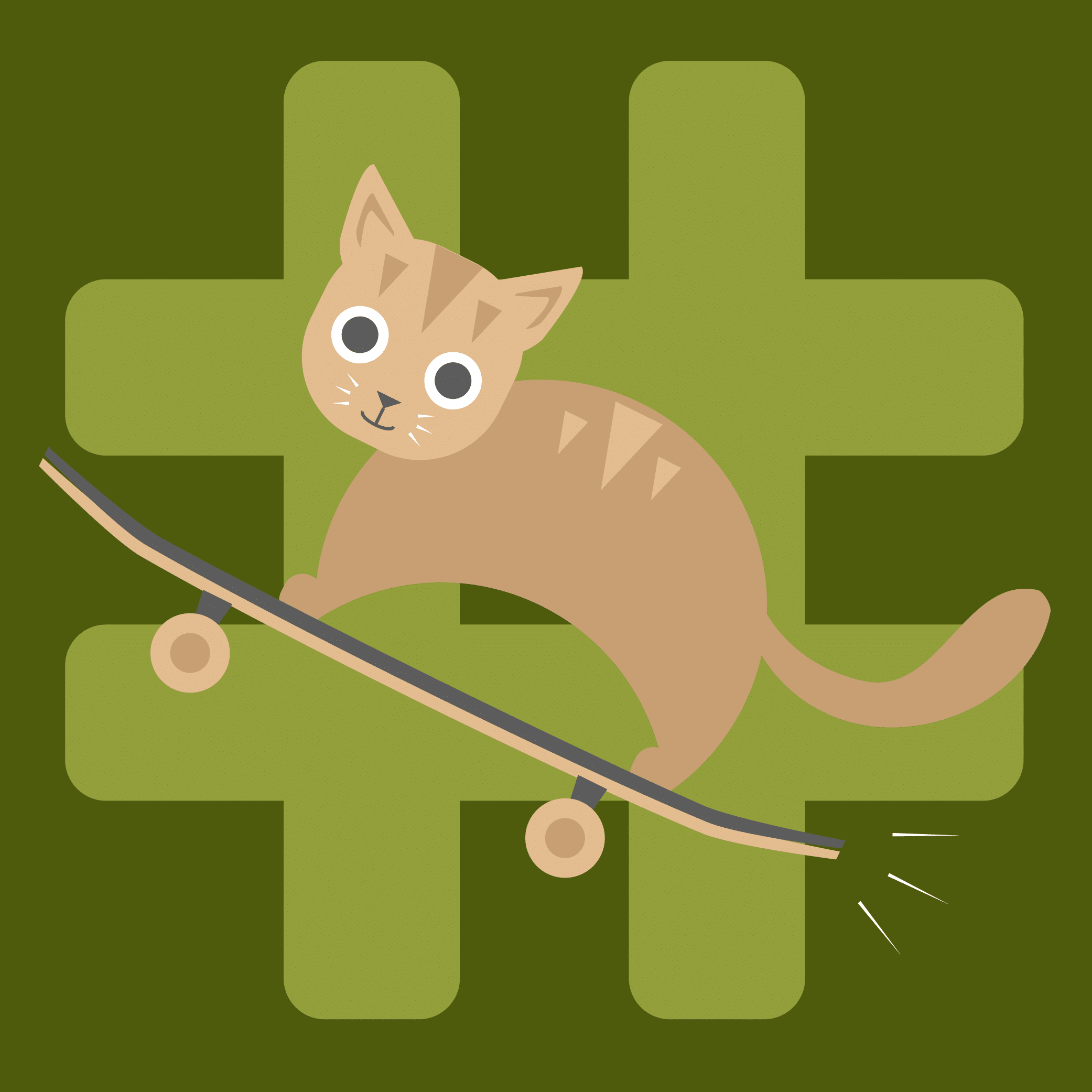 Illustration of a cat riding a skateboard.
