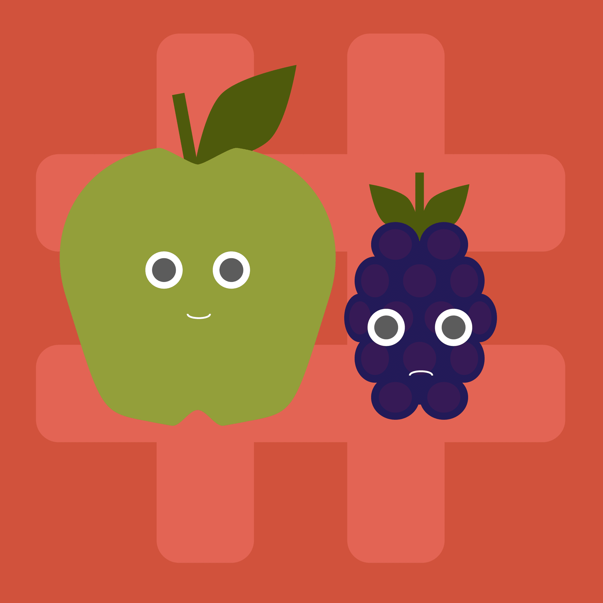 Illustration of an apple and a blackberry, representing Apple's success.