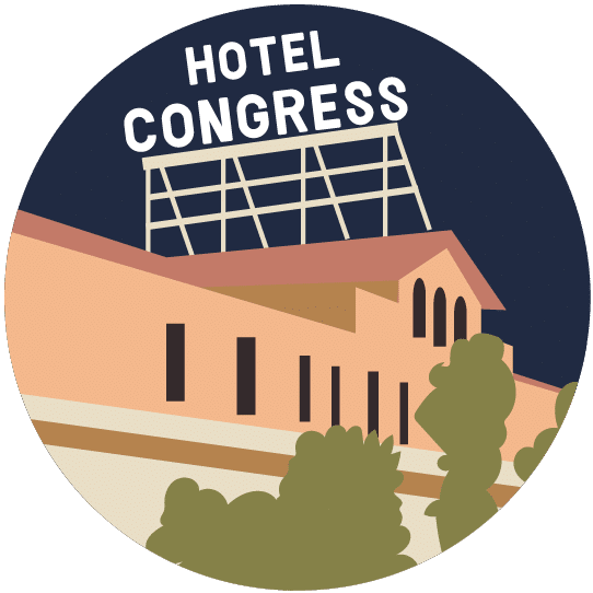 Illustration of Hotel Congress' famous sign.