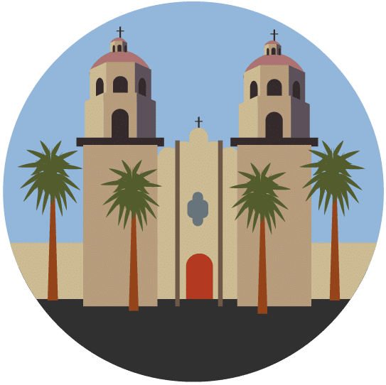 Illustration of Tucson's St. Augustine Cathedral.
