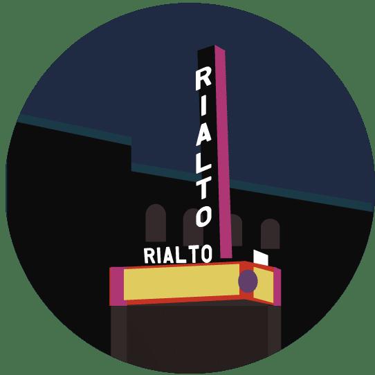 Illustration of the exterior of Tucson's Rialto Theatre.