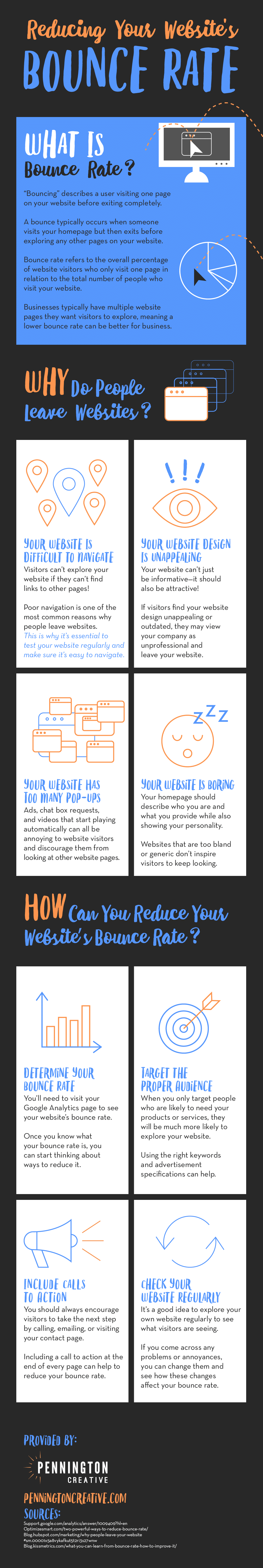 Infographic with tips for reducing business websites' bounce rate.