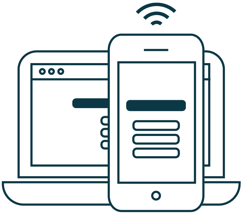 Illustration of a laptop and a mobile phone showing the same web page with responsive design.