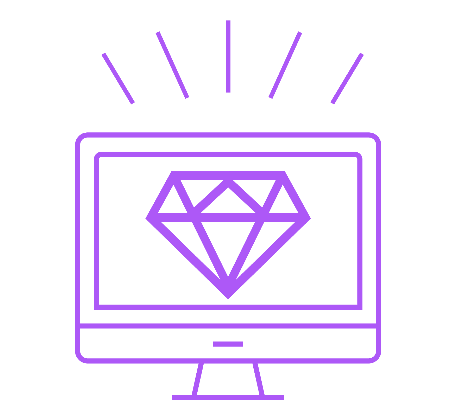 Illustration of a computer screen with a diamond on it representing clear content.