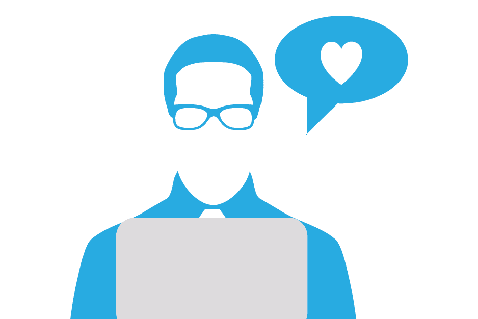 Illustration of a man at a laptop with a heart inside a speech bubble.
