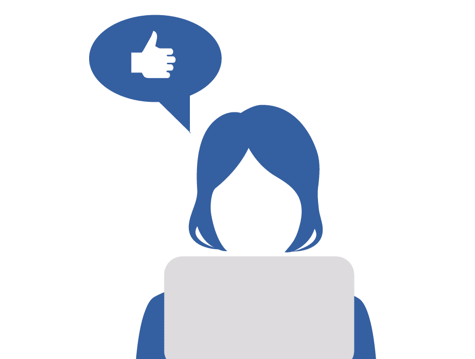 "Illustration of a woman sitting at a laptop with a ""like"" button above her."