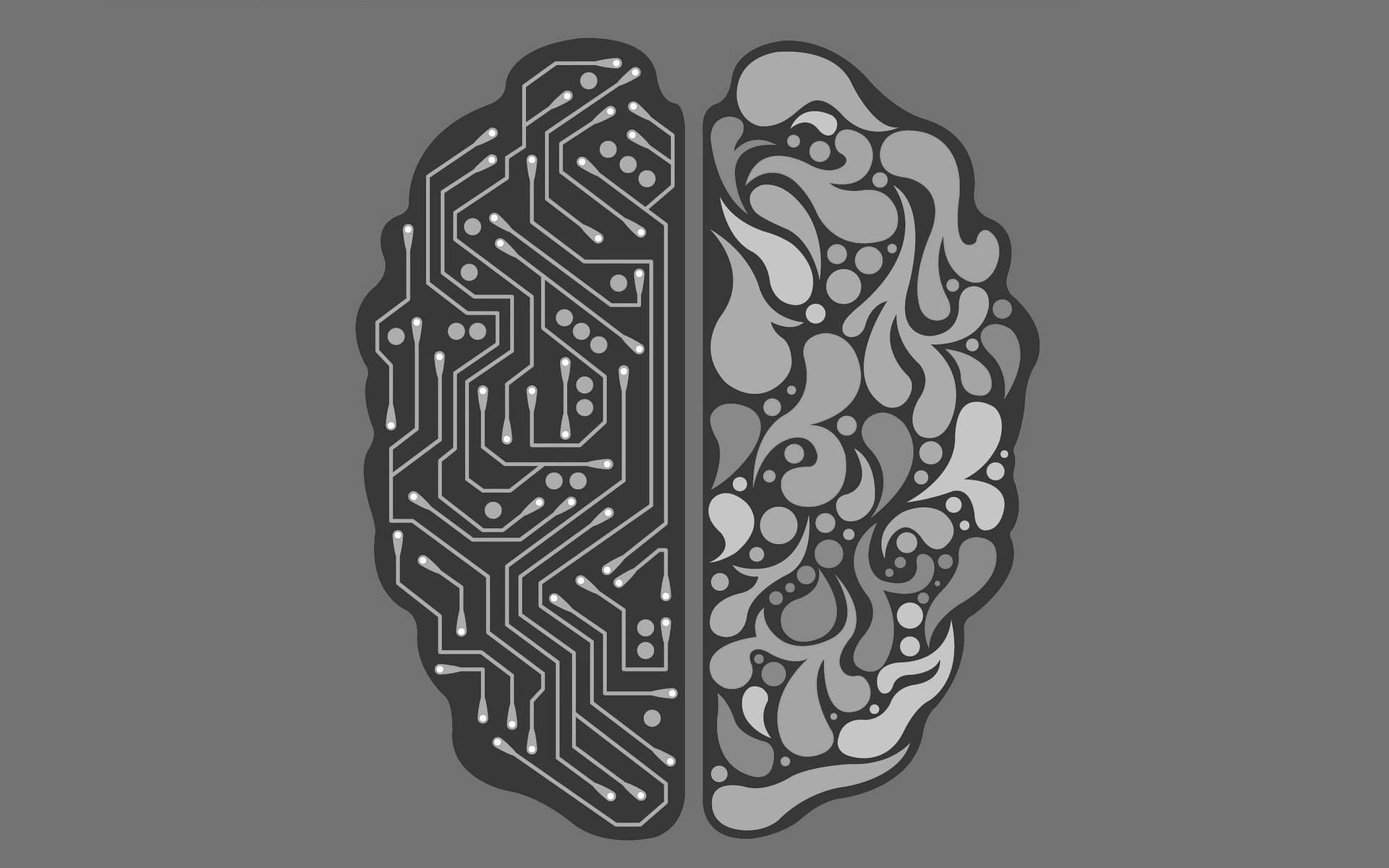 Illustration of a brain, with half depicted as a circuit board.