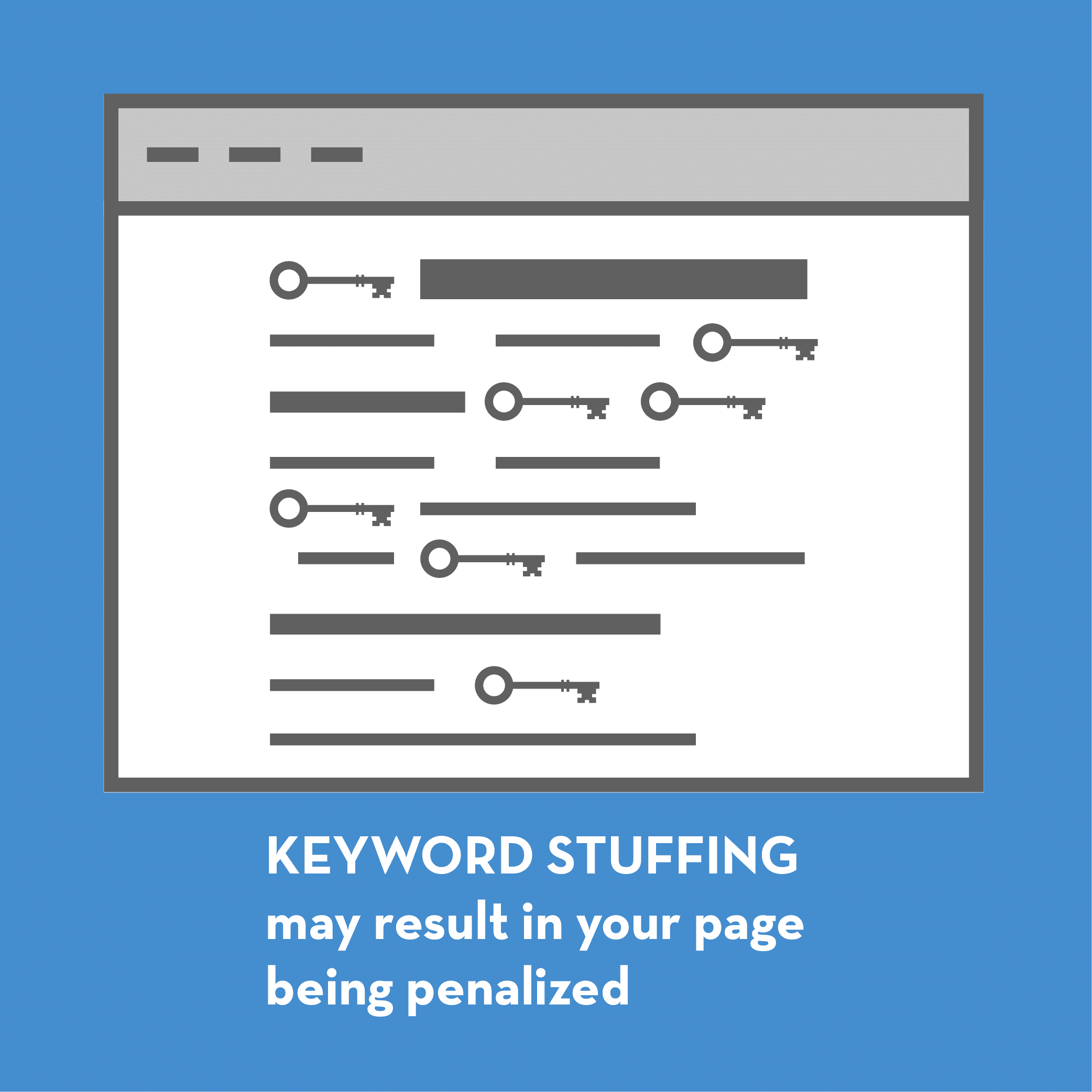 Illustration explaining the issues with keyword stuffing.