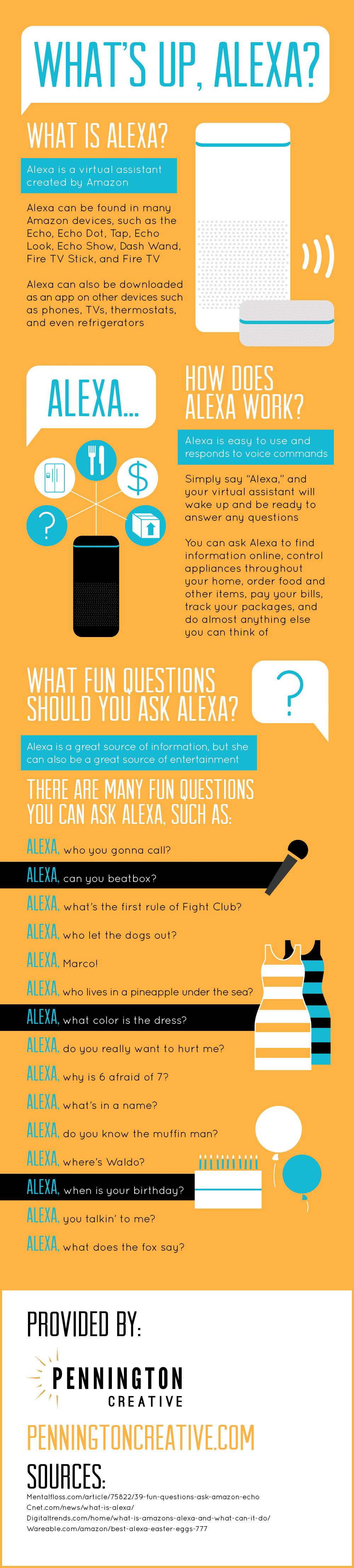 Infographic about Amazon's virtual assistant, Alexa.