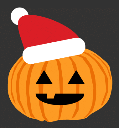Illustration of a pumpkin wearing a Santa hat, representing holiday marketing in fall.