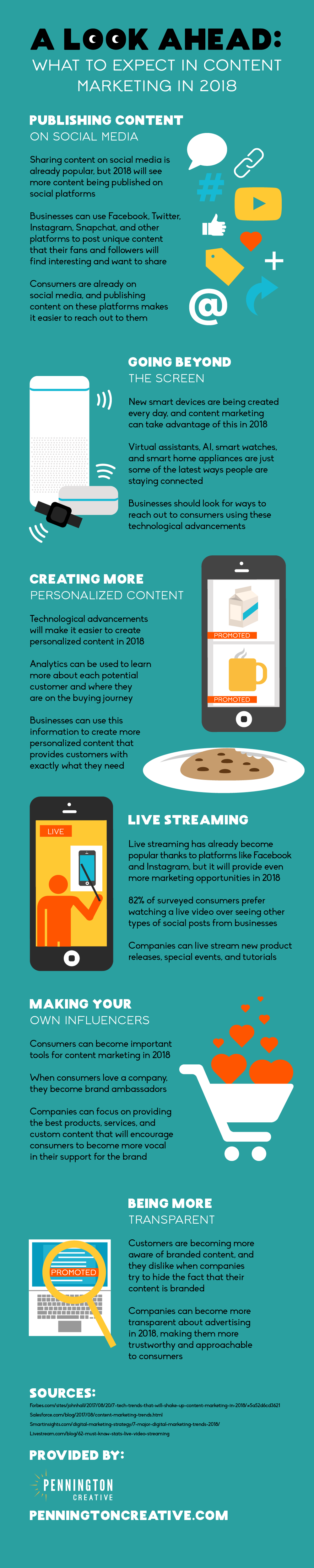 Infographic about what to expect in content marketing in 2018.