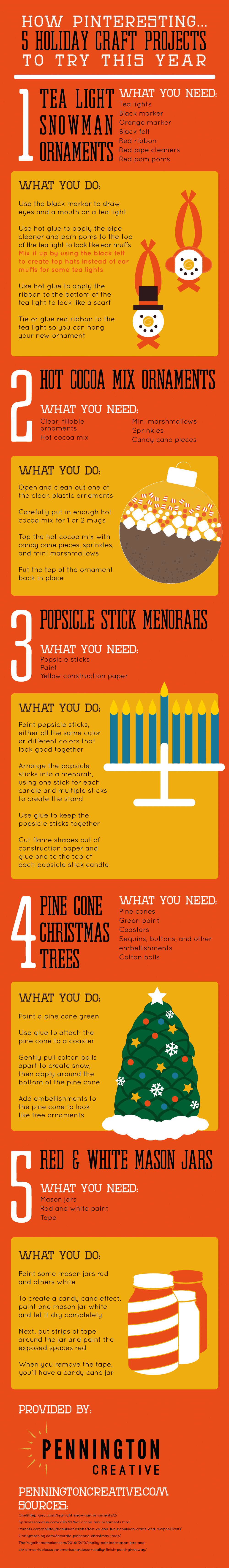 Infographic with instructions on how to complete 5 different holiday projects.