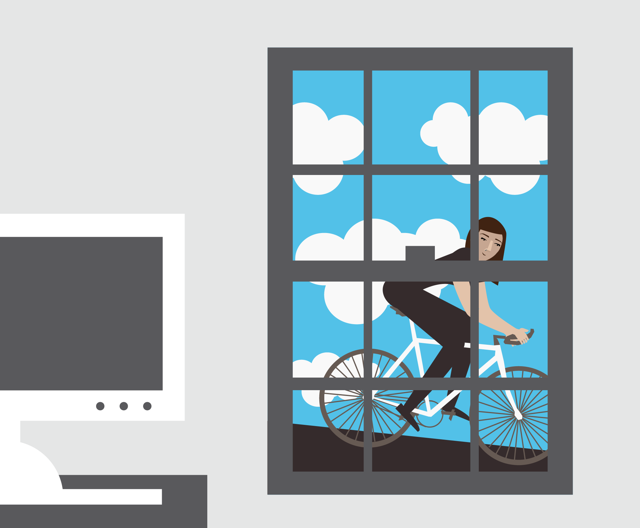 Illustration of a blogger taking a break by riding her bike.