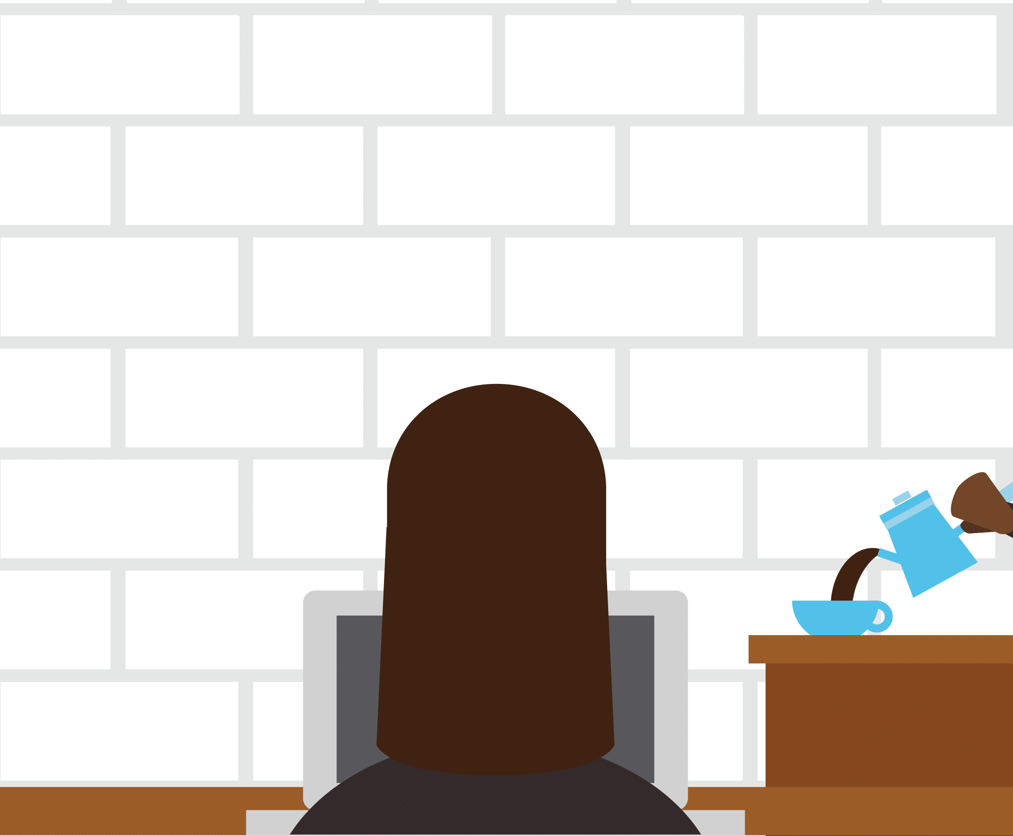 Illustration of a blogger writing at a coffee shop.
