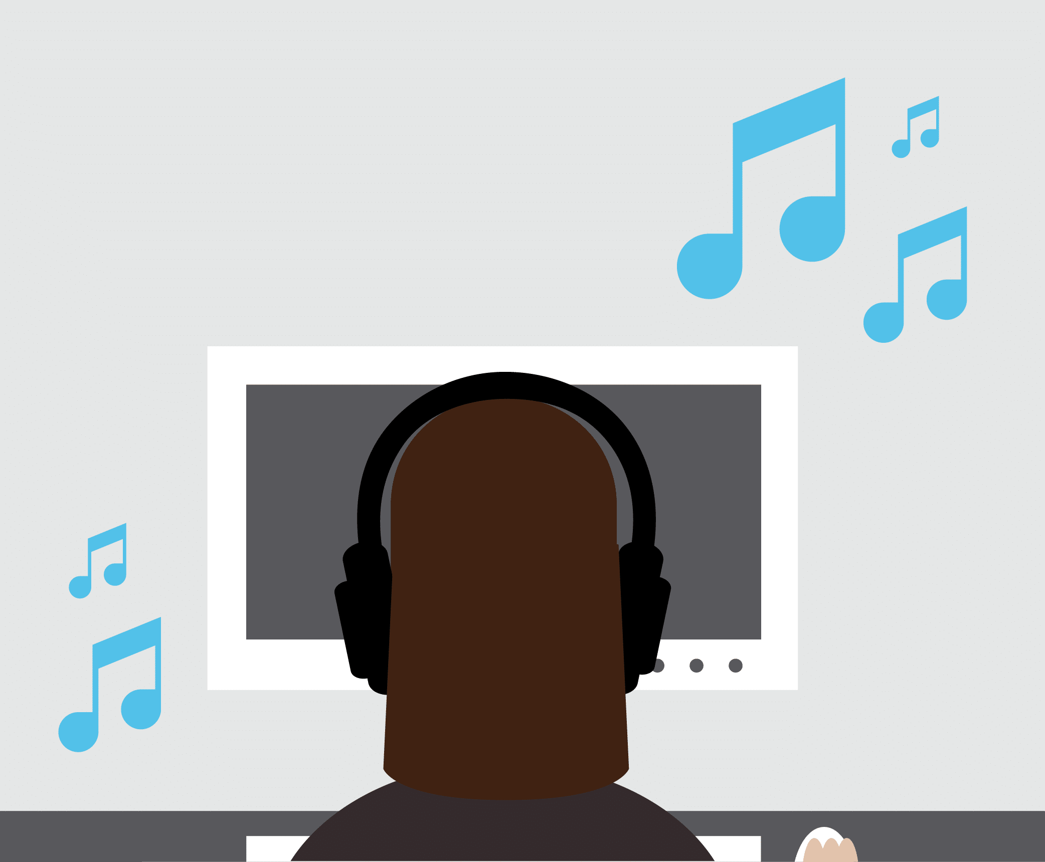 Illustration of a blogger listening to music while writing.