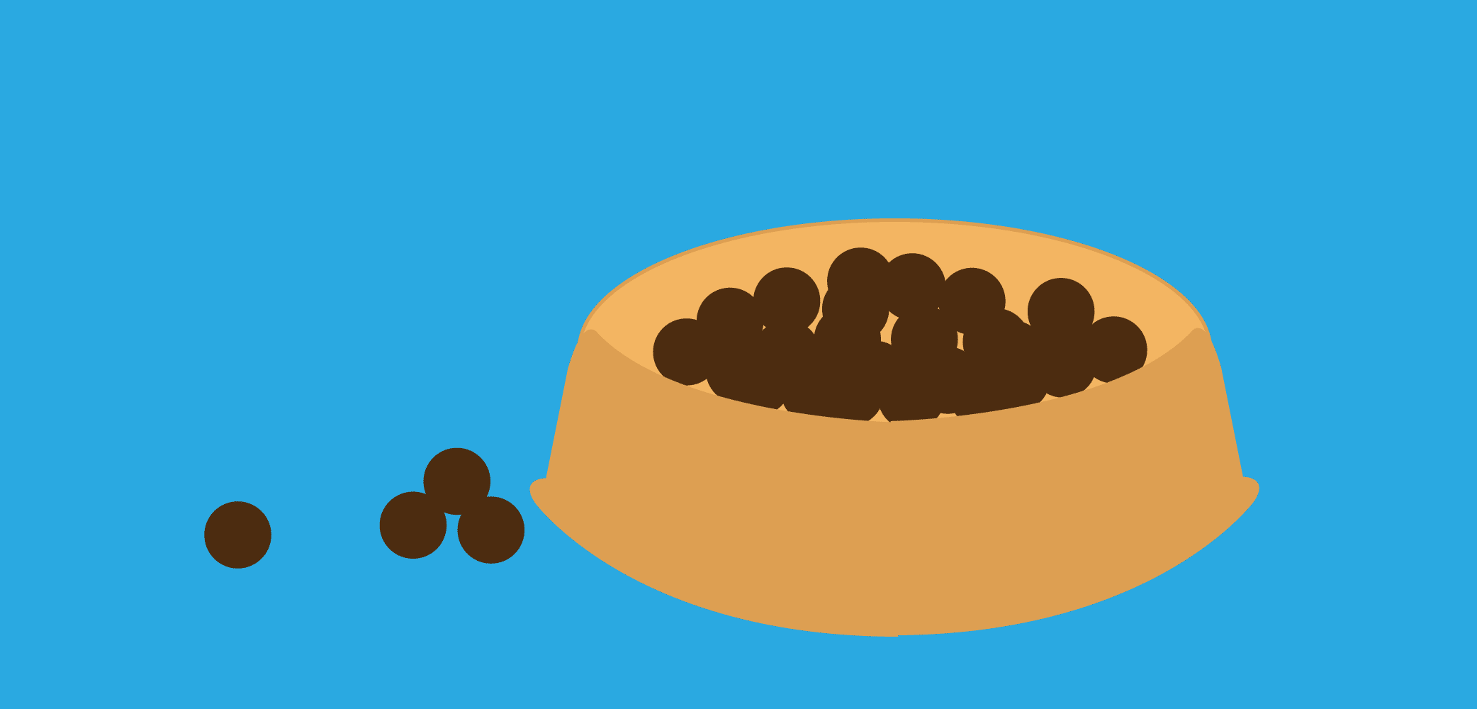 Illustration showing a bowl of pet food.