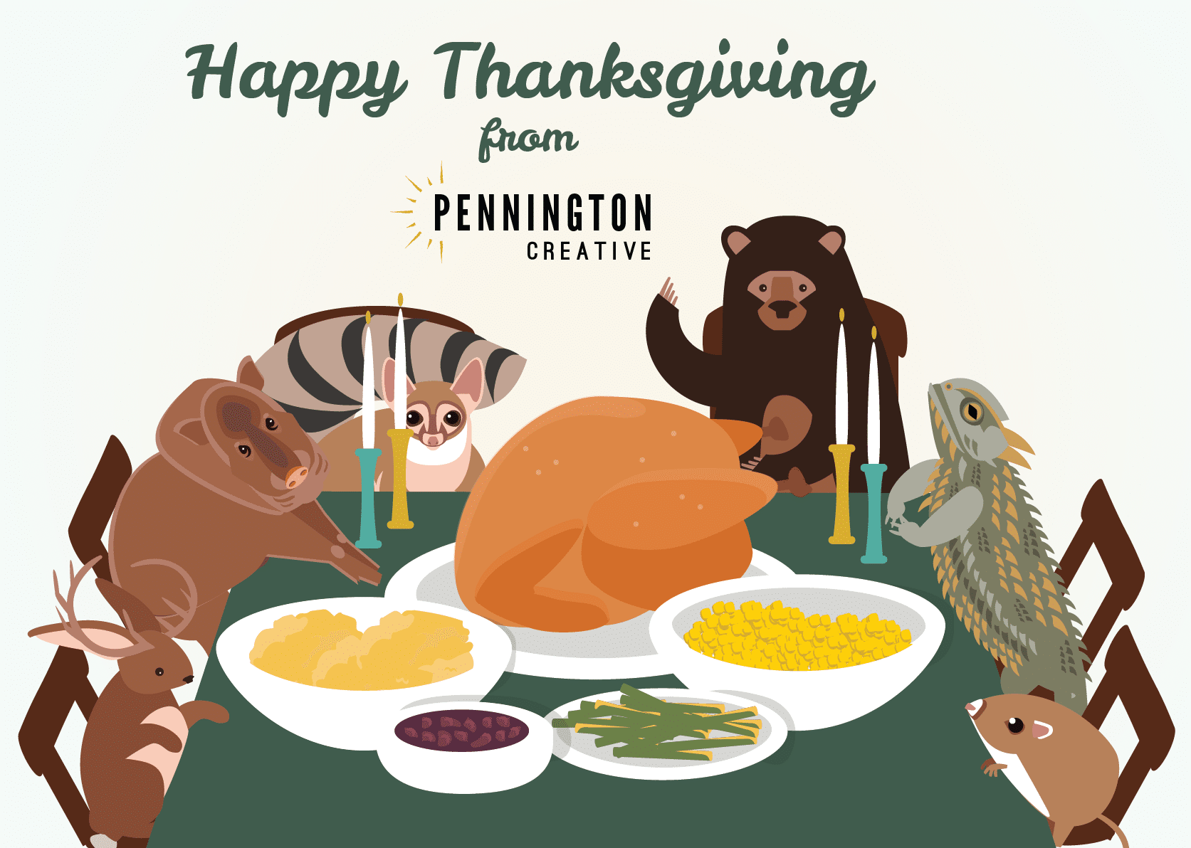 Illustration of desert animals around a Thanksgiving table.