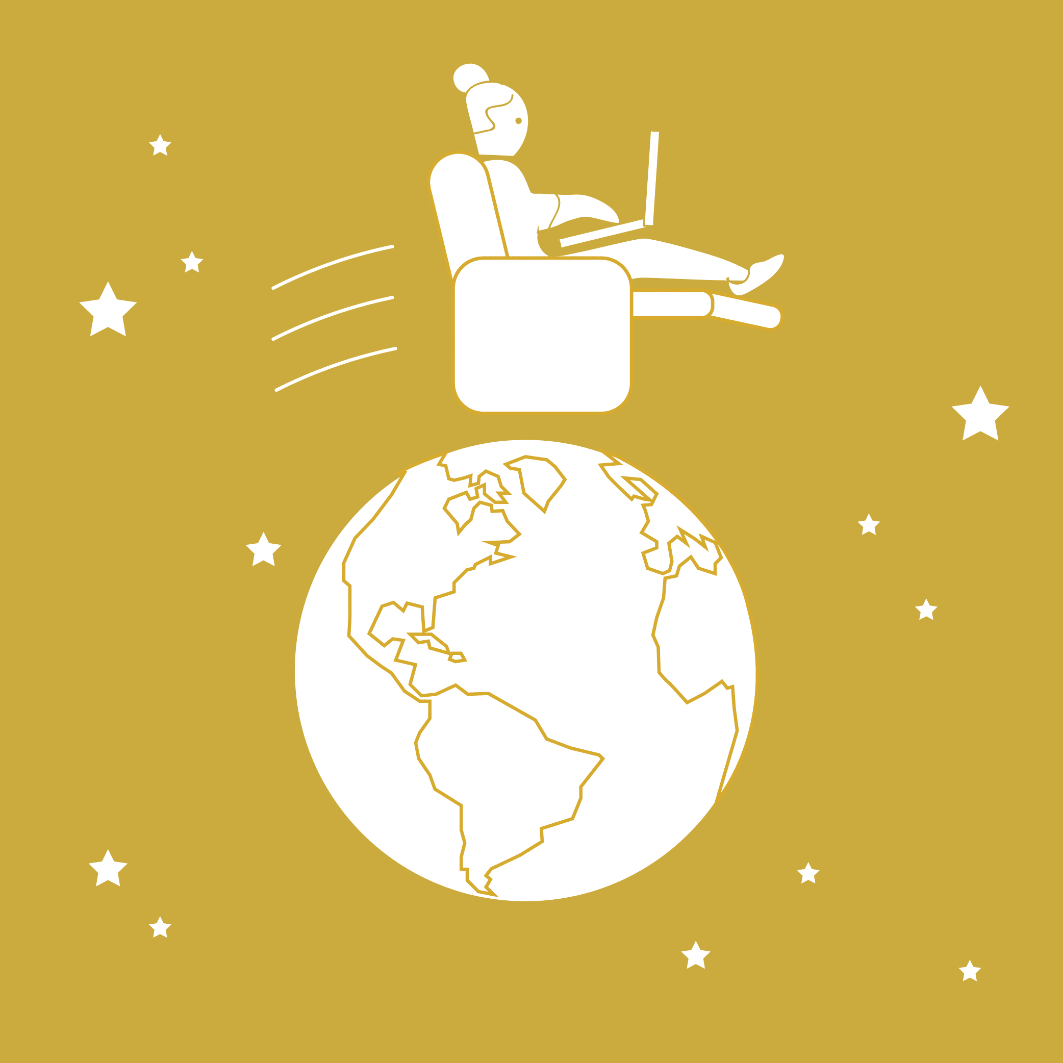 Illustration of a woman in a recliner using her website, soaring around the globe.