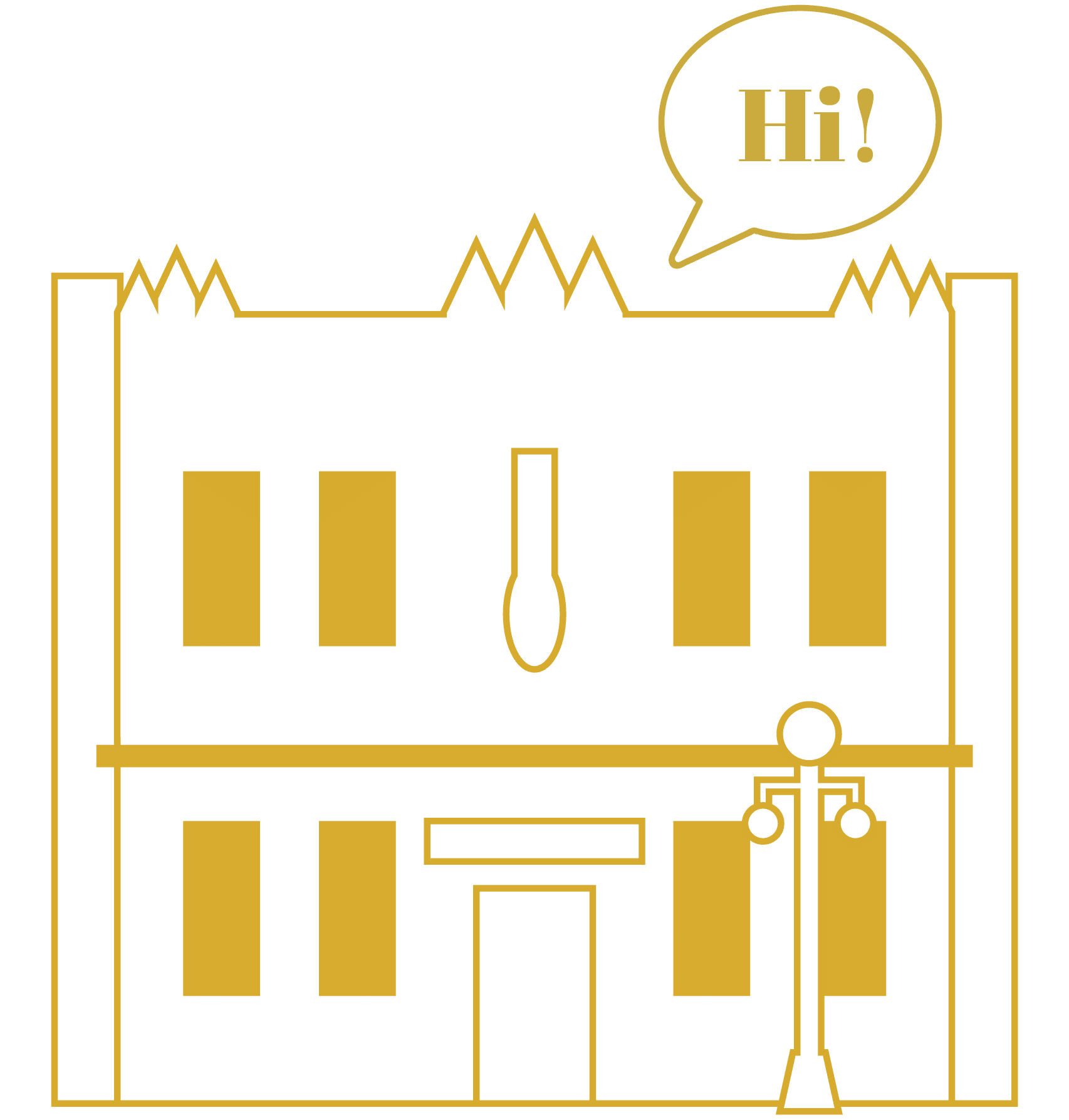 "Illustration of Tucson's Reilly Building, with a ""Hi!"" speech bubble."