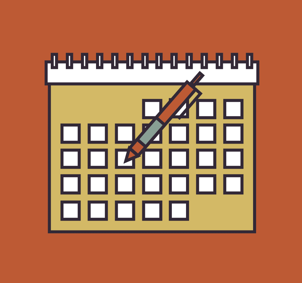 Illustration of a calendar with a pen making notes.