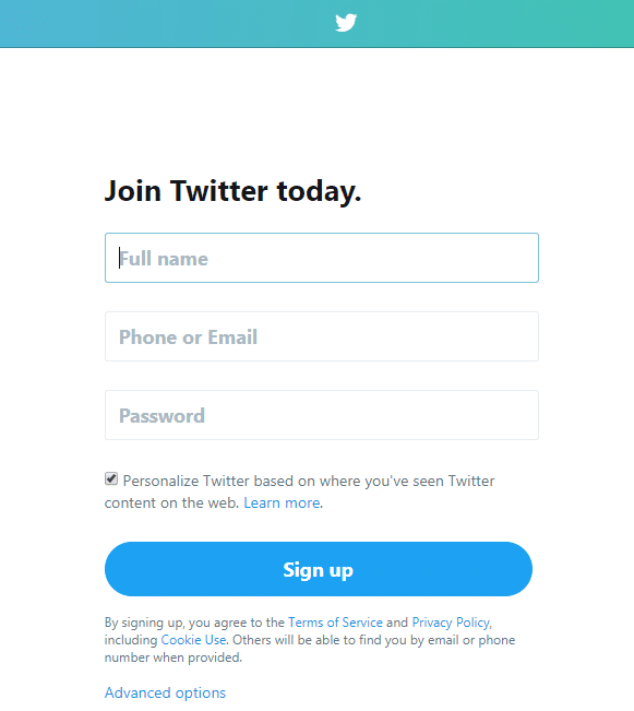 Screenshot of Twitter signup page.